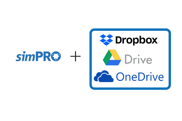 simPRO cloud storage integrations Dropbox Google Drive and One drive